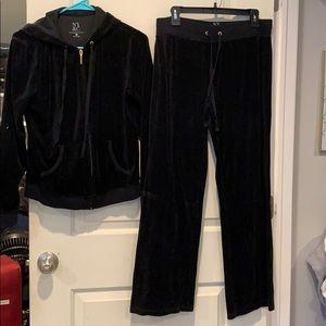 New York & Co. Black two piece velour jumpsuit